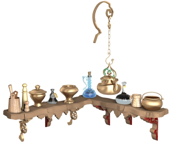 ethnic old cookware shelf 3d max