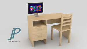 pc table - monitor 3d model