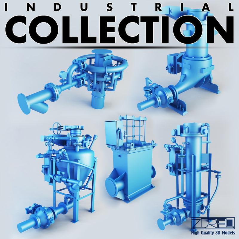 industrial pumps 3d obj