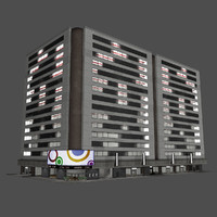 - city office industrial building 3d model