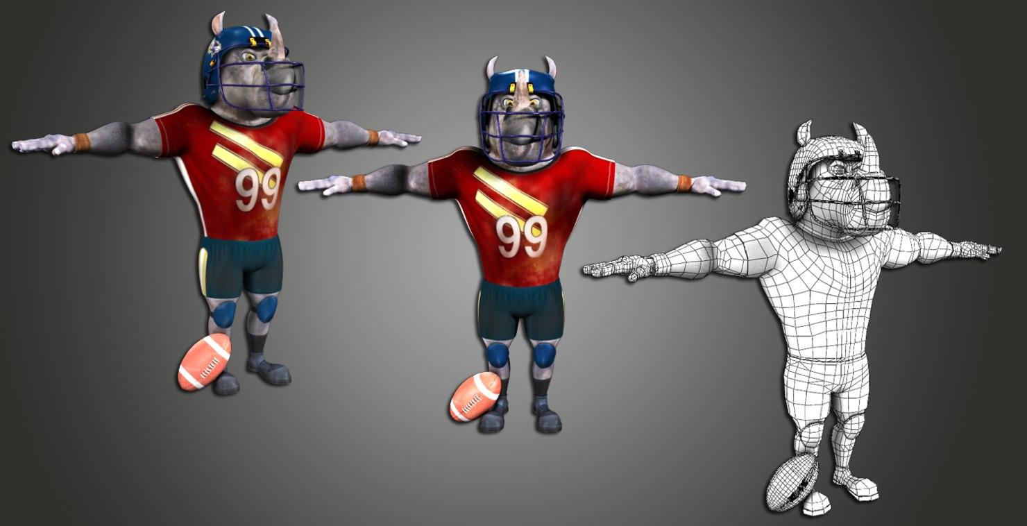 rhino football player 3d model