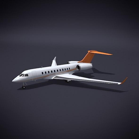 3d passenger airplane landing