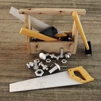 tools saw hammer 3d model