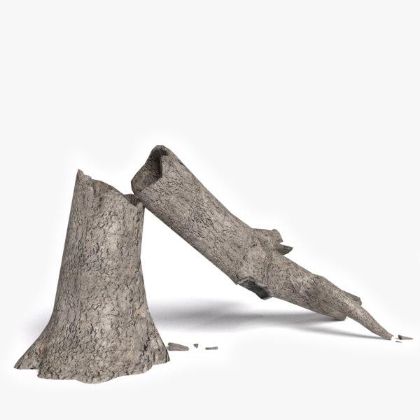3d model dead fallen tree