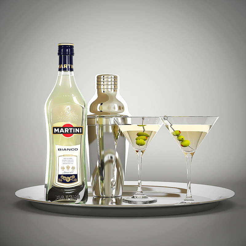 3d martini bottle shaker glasses model