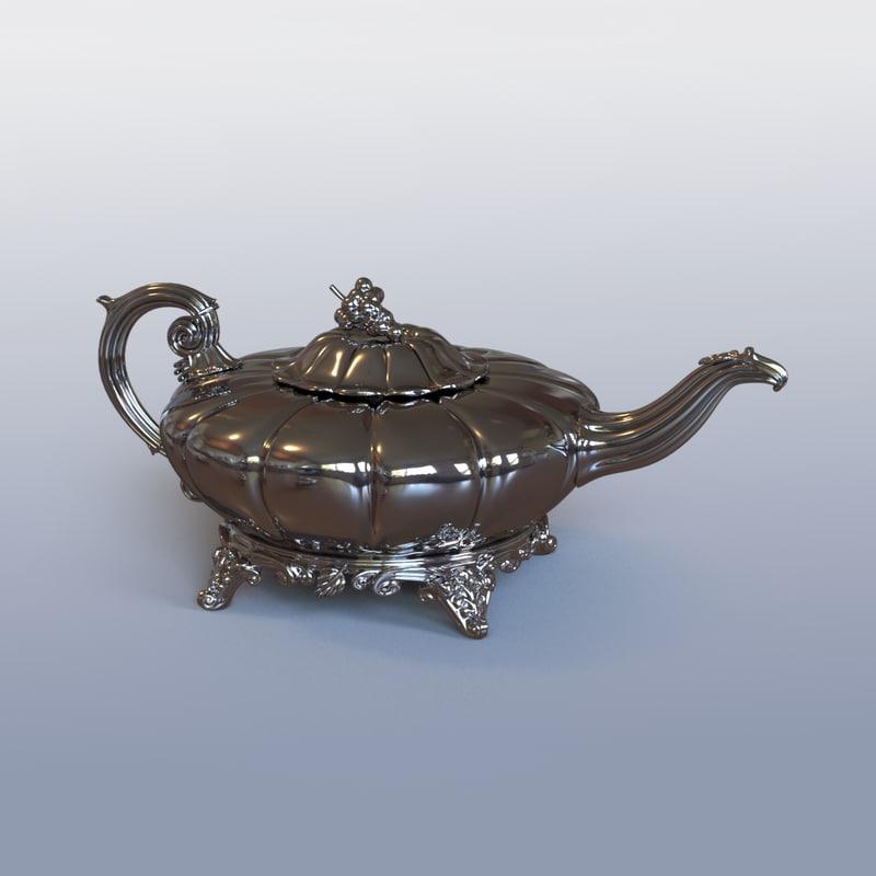 antique irish teapot 3d obj