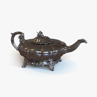 antique irish teapot 3d obj