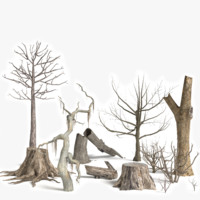 3d dead plant tree model
