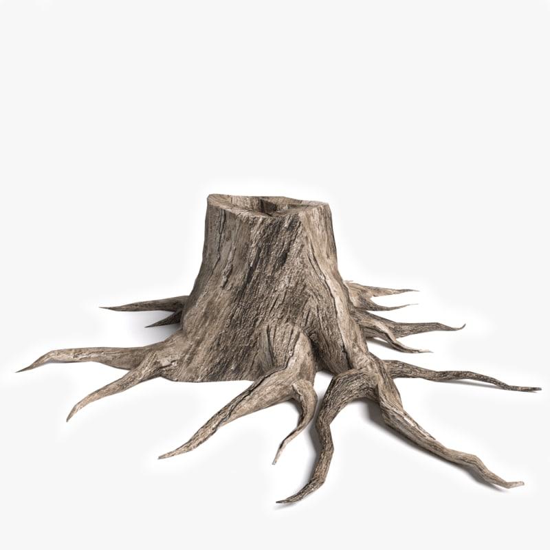 3d model dead tree stump