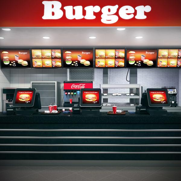burger counter 3d model