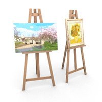 painting easels 3d obj