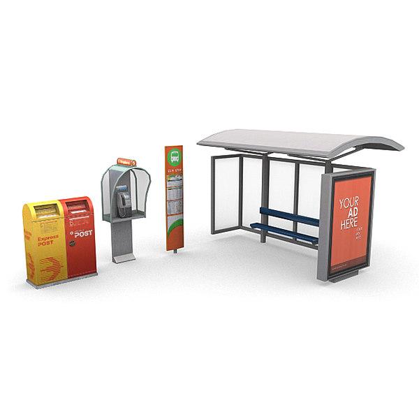 street phone booth 3d obj