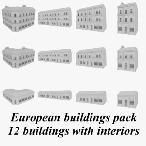 3d model european buildings interiors