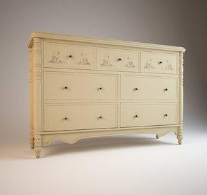 chest drawers hooker usa 3d model