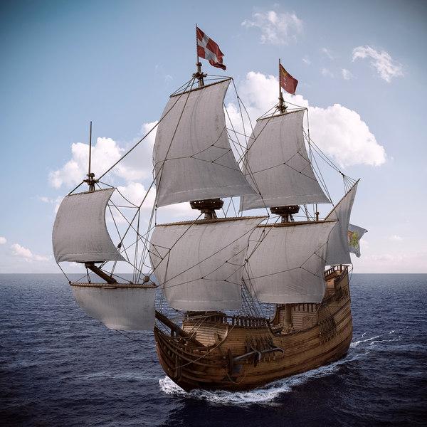 3dsmax old sail ship
