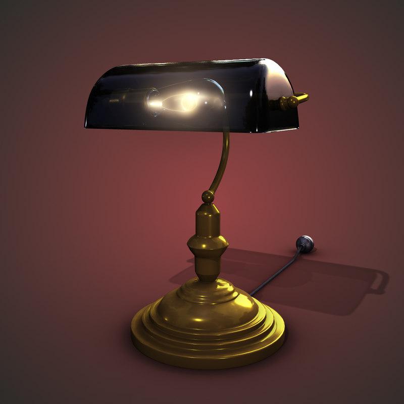 3d model bankers lamp. Black Bedroom Furniture Sets. Home Design Ideas