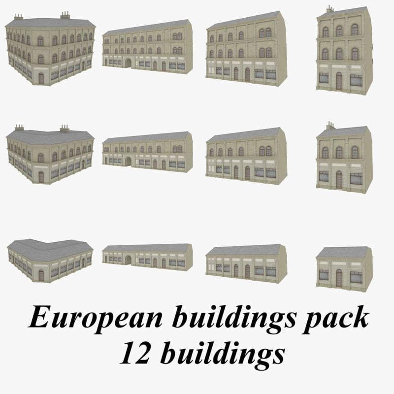 3d model european buildings