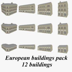 3d model european buildings