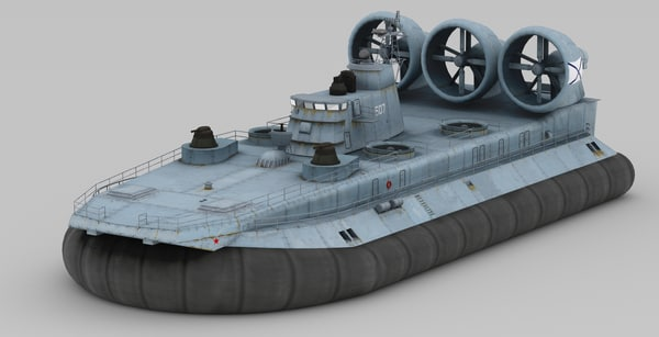 3ds max class lcac military hovercraft