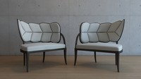 Leaf Form Upholstered Chairs