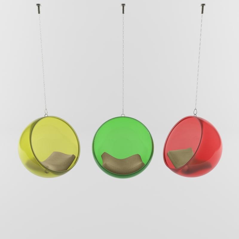 3d model chair bubble