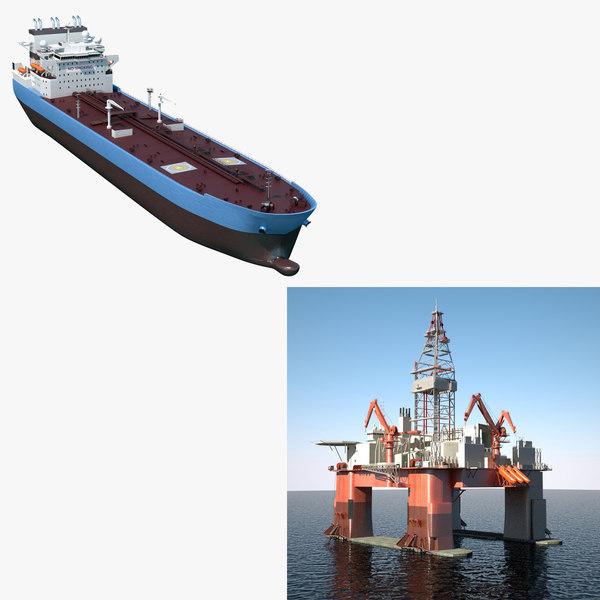 3d 3ds tanker vessel drilling rig