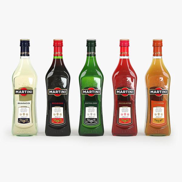 3d martini family bottle