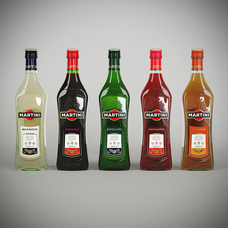 3d martini family bottle