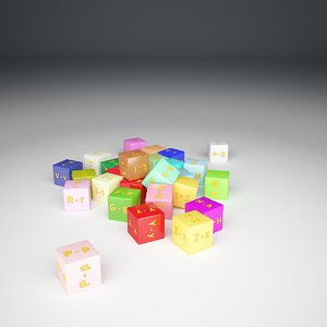 3d alphabet cube model