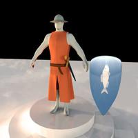 3d cartoon knight model