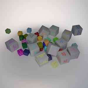 alphabet number cube 2 3d model