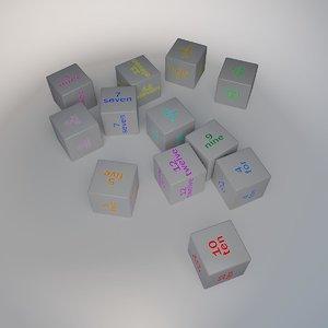 number cube 3d model