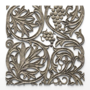 3d model of ornament bas relief grapes