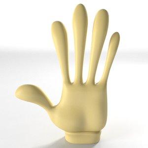 3d model gloved cartoon hand