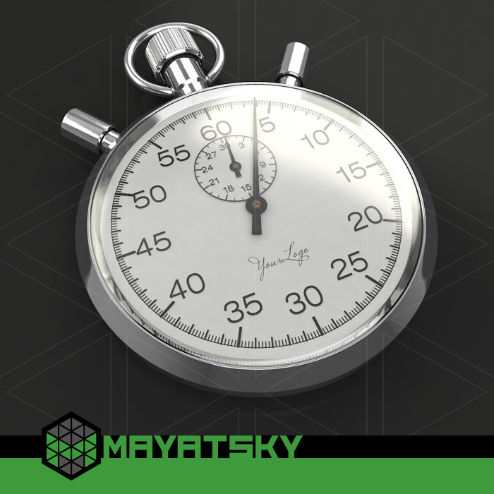 stopwatch chromium-plated 3d model