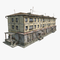 3d model abandoned 3-storey house
