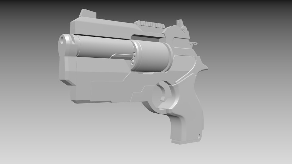 3d model of gun weapon revolver
