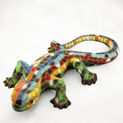 free 3ds model lizard mosaic