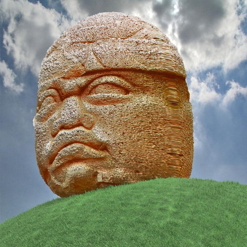3d aztec olmec head model