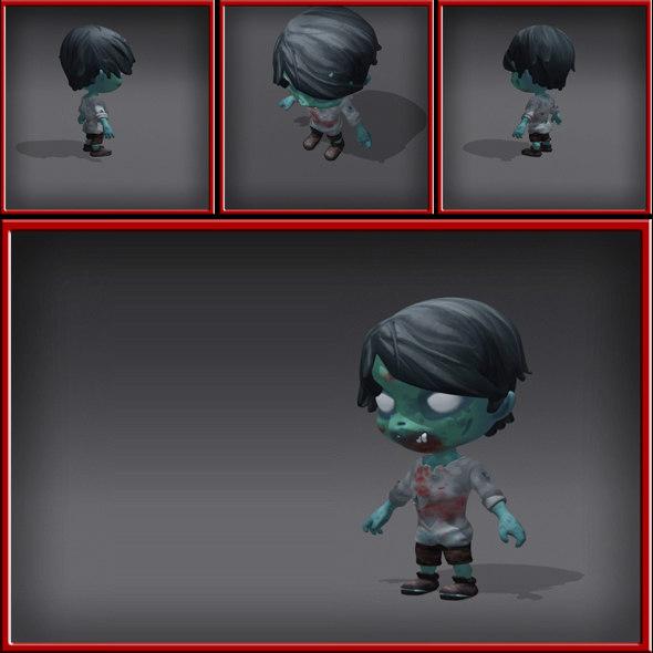 3d cartoony zombie model
