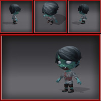 3d cartoony zombie model