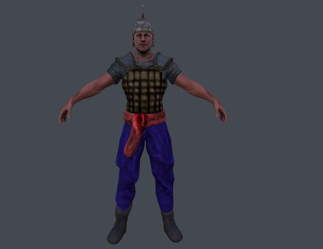 3d model ancient warrior