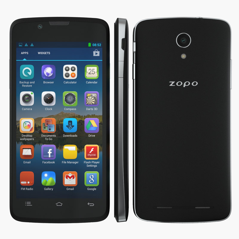 smartphone zopo zp590 black 3d model