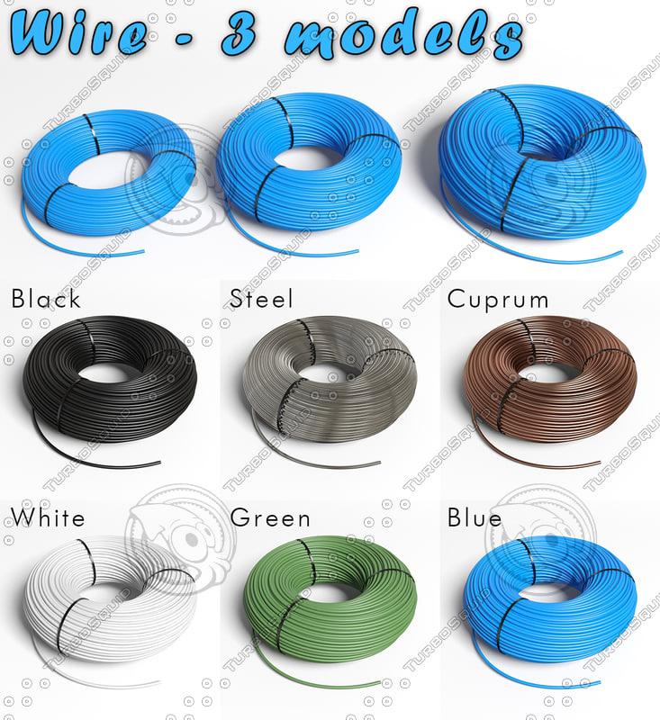 3d model 3 wires metal plastic
