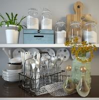 3d tray glasses utensils model