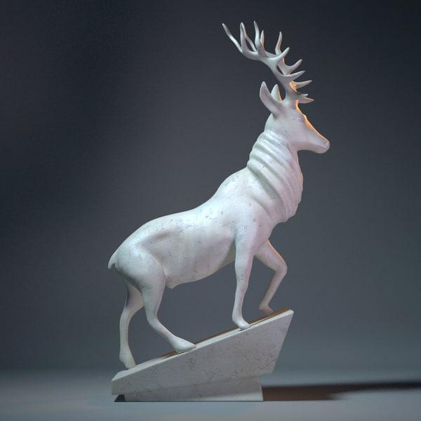 deer sculpture 3d 3ds