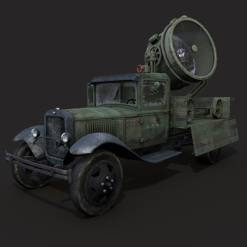 gaz-aa searchlight military vehicle 3d model