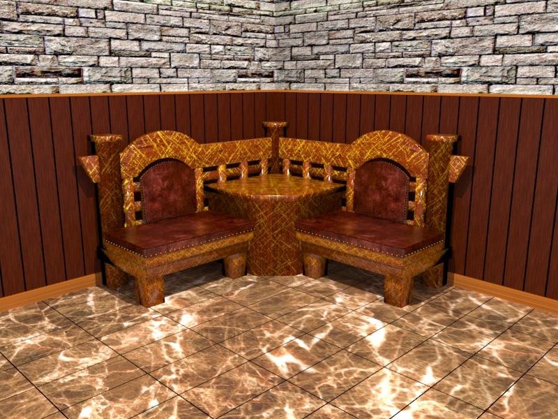 3d kitchen bar wood