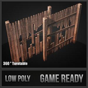 3d model wood fence kit
