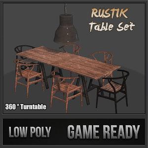 rustik table set 3d max